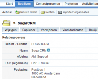 Klant in SugarCRM (via AdSystems)