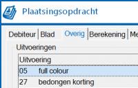 Plaatsing - tabblad Overig